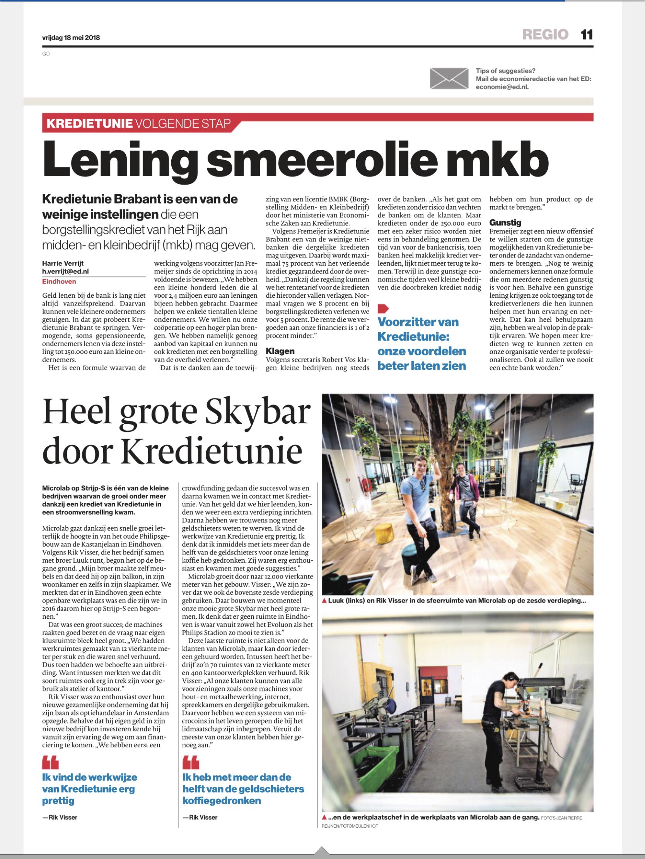 Mooi artikel over Kredietunie Brabant in Eindhovens Dagblad